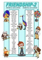 English Worksheet: FRIENDSHIP- PHYSICAL AND PERSONAL QUALITIES POSTER 2