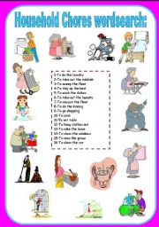 English Worksheets: household chores wordsearch