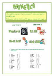 English Worksheet: Phonetic. Short vowel /I/ and Long vowel /i:/