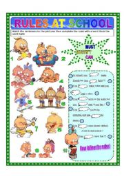 English Worksheet: Rules at school with Winnie!