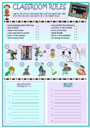 English Worksheet: Classroom rules -- MUST and MUSTN´T