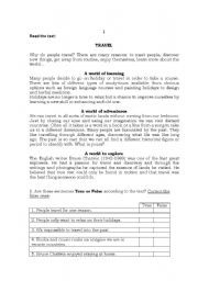 English Worksheets: English Test - Reading Comprehension and Grammar