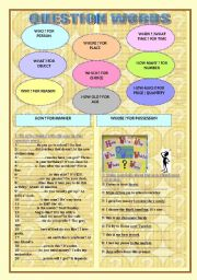English Worksheets: QUESTION WORDS: WHO / WHERE / WHEN / WHY / HOW / HOW MUCH ...
