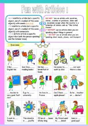 English Worksheets: fun with articles