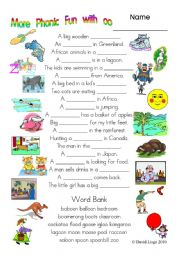 English Worksheets: 3 More pages of Phonic Fun with oo: worksheet, story and key (#9)