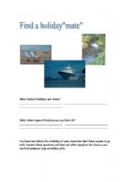 English Worksheets: Find a holidaymate