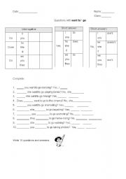English Worksheets: I want to go...