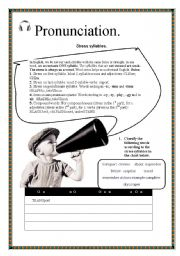 English Worksheet: Stress syllable worksheet and pronunciation guide. Three sheets with keys
