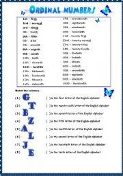 ordinal numbers - ESL worksheet by poki