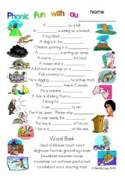 English Worksheets: 3 pages of Phonic Fun with ou: worksheet, story and key (#10)