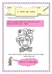 English Worksheets: face / colors