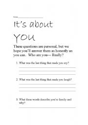 English Worksheets: Amazing personal questions to discuss or to write about!
