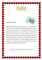 English Worksheets: Text for 5th grades