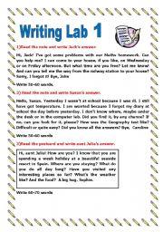 English Worksheets: Writing Lab - Part one