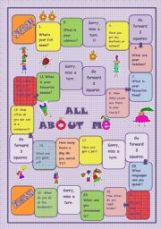 English Worksheet: All about Me Board Game