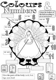 English Worksheet: colours & numbers & body parts