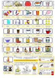 English Worksheet: Uncountable Food & Drink Nouns Pictionary Part 2/2.