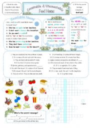 Countable & Uncountable Food Nouns - Single/Plural with have, like, and want. 2 pages + key.