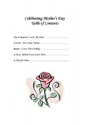 English Worksheet: Table of Contents for a Mother´s Day Book