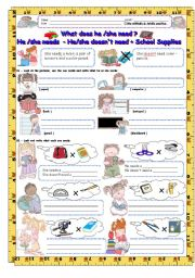 English Worksheet: He/She needs - He/She doesn�t need + School Supplies 3/3