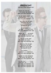 English Worksheet: Green Day - Learn with songs