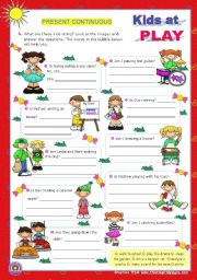 English Worksheets: Kids at play - Present Continuous - Yes/No Questions