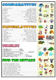English Worksheet: comparatives superlatives similes (BW+ the key)