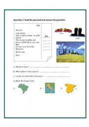 English Worksheet: A postcard from Italy