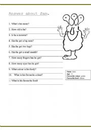 English Worksheets: Answer about Sam