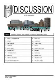English Worksheet: speaking-city life and country life