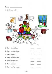 English Worksheets: How many sentence practice