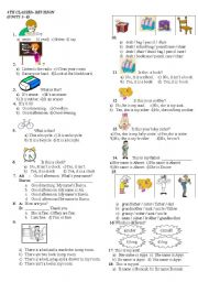 school objects, family,prepositions, body,numbers,clothes,pets,time