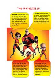 English Worksheets: The Incredibles( have/ has got + can/can�t)