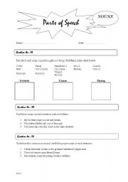 English Worksheets: Parts of Speech - NOUNS