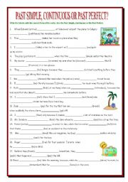 English Worksheet: Past Simple, Past Continuous, Past Perfect Review