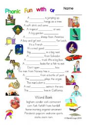 3 pages of Phonic Fun with or: worksheet, story and key (#11)