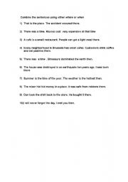 English worksheet: where and when