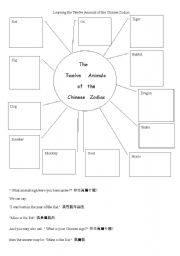 English Worksheets: Learning Chinese Zodiec