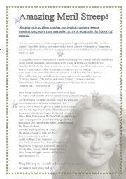 English Worksheets: Amazing Meril Streep!