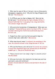 English Worksheets: questions about the american revolution