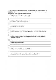 English Worksheets: Lady Di reading comprehension worksheet