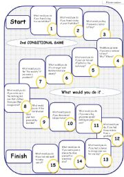 English Worksheet: 2nd CONDITIONAL - BOARD GAME