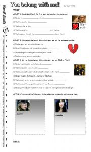 English Worksheets: You belong with me videoclip