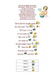 English Worksheets: Betty Botter