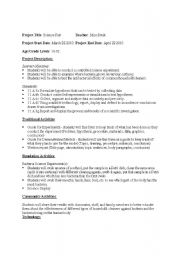 English worksheets: Science Fair Bacteria Project