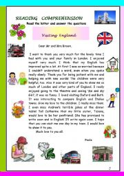 English Worksheets: Reading , language and writing exercices that form a test