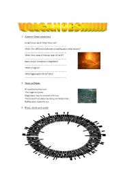 English Worksheets: Volcanoes!!