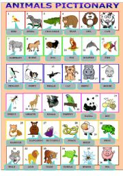 English Worksheet: animals pictionary
