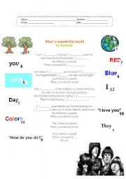 English Worksheets: What a wonderful world by Ramones