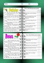 English Worksheet: Reading comprehension: Flowers